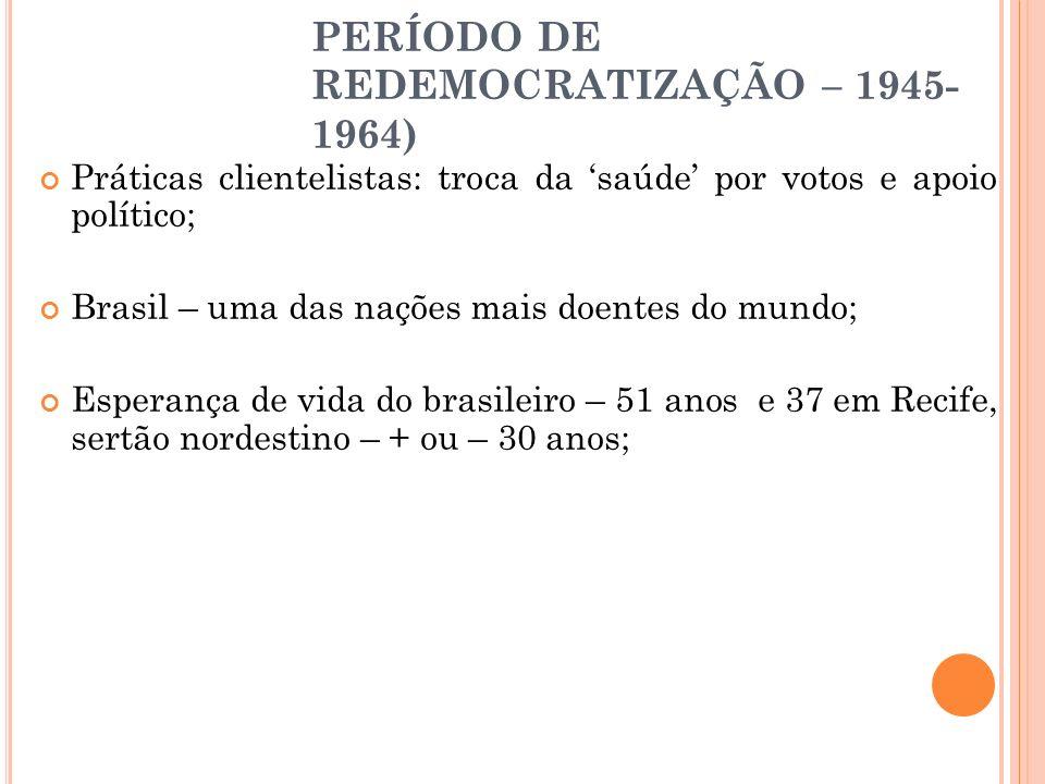 PERÍODO DE REDEMOCRATIZAÇÃO – 1945- 1964) Práticas clientelistas: troca da saúde por votos e apoio político; Brasil – uma das nações mais doentes do m