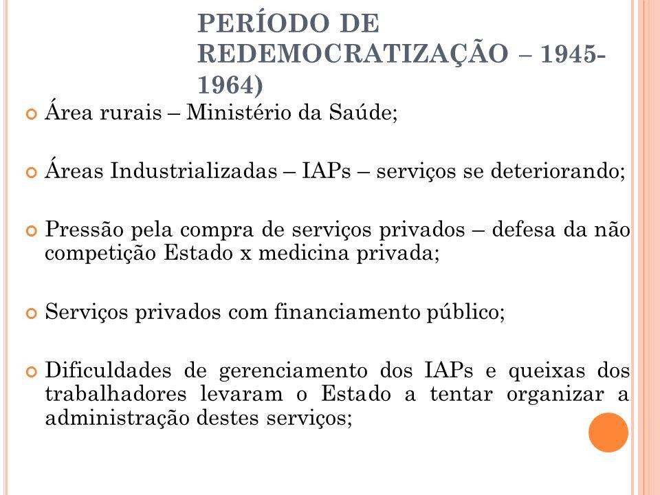 PERÍODO DE REDEMOCRATIZAÇÃO – 1945- 1964) Área rurais – Ministério da Saúde; Áreas Industrializadas – IAPs – serviços se deteriorando; Pressão pela co