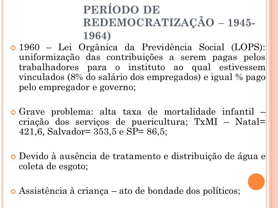 PERÍODO DE REDEMOCRATIZAÇÃO – 1945- 1964) 1960 – Lei Orgânica da Previdência Social (LOPS): uniformização das contribuições a serem pagas pelos trabal
