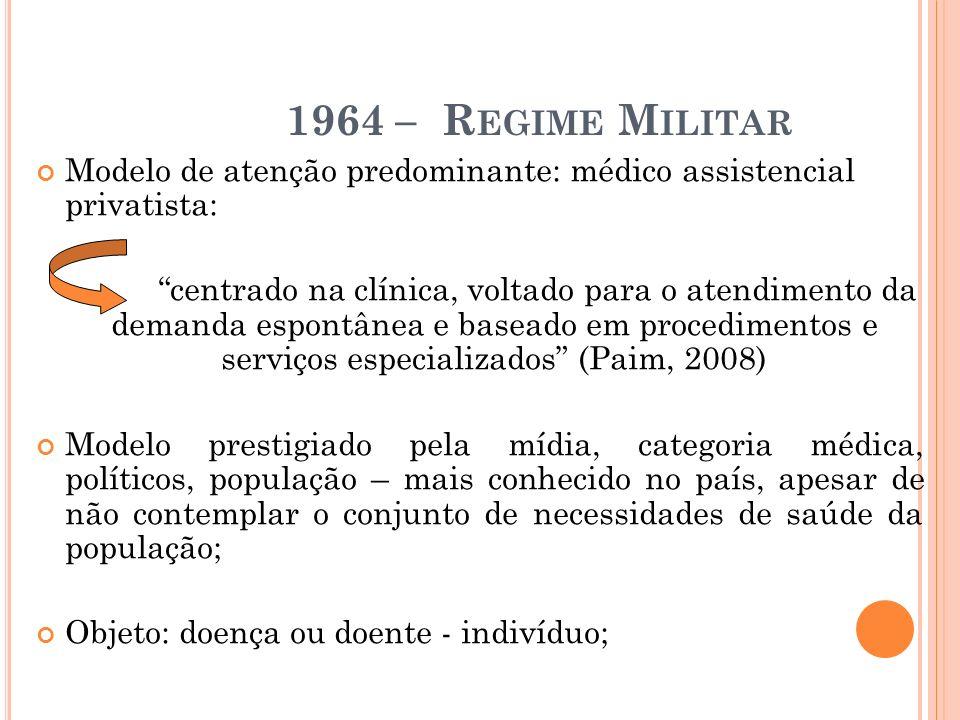 1964 – R EGIME M ILITAR Modelo de atenção predominante: médico assistencial privatista: centrado na clínica, voltado para o atendimento da demanda esp