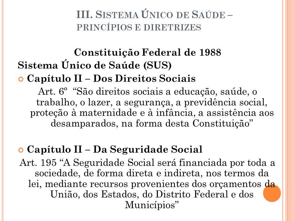 III. S ISTEMA Ú NICO DE S AÚDE – PRINCÍPIOS E DIRETRIZES Constituição Federal de 1988 Sistema Único de Saúde (SUS) Capítulo II – Dos Direitos Sociais