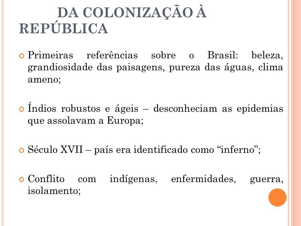 DA COLONIZAÇÃO À REPÚBLICA Primeiras referências sobre o Brasil: beleza, grandiosidade das paisagens, pureza das águas, clima ameno; Índios robustos e