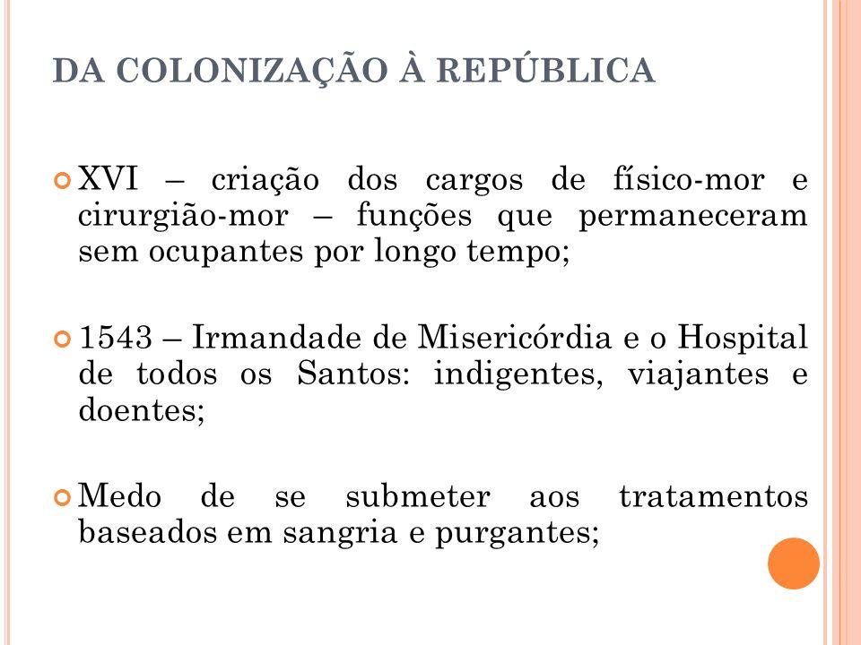 DA COLONIZAÇÃO À REPÚBLICA XVI – criação dos cargos de físico-mor e cirurgião-mor – funções que permaneceram sem ocupantes por longo tempo; 1543 – Irm