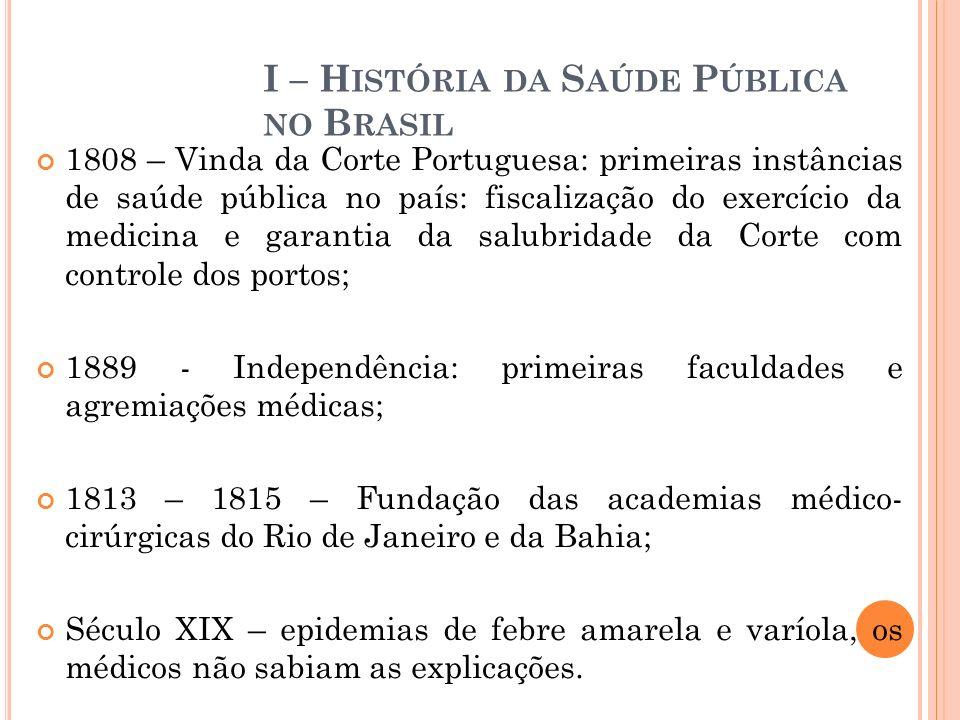 I – H ISTÓRIA DA S AÚDE P ÚBLICA NO B RASIL 1808 – Vinda da Corte Portuguesa: primeiras instâncias de saúde pública no país: fiscalização do exercício