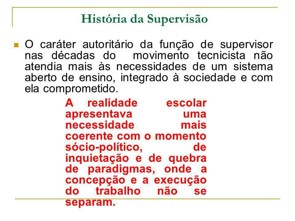 História da Supervisão O caráter autoritário da função de supervisor nas décadas do movimento tecnicista não atendia mais às necessidades de um sistem