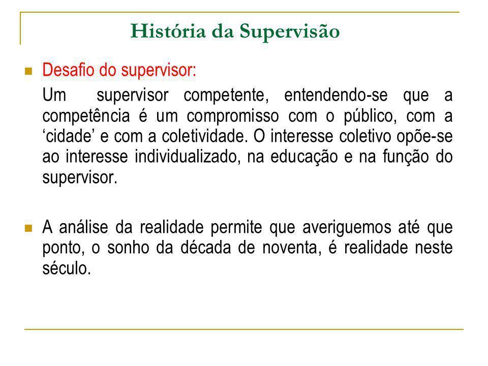 História da Supervisão Desafio do supervisor: Um supervisor competente, entendendo-se que a competência é um compromisso com o público, com a cidade e