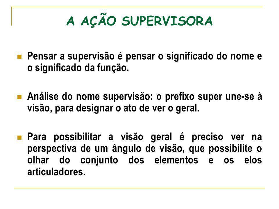 A AÇÃO SUPERVISORA Pensar a supervisão é pensar o significado do nome e o significado da função. Análise do nome supervisão: o prefixo super une-se à