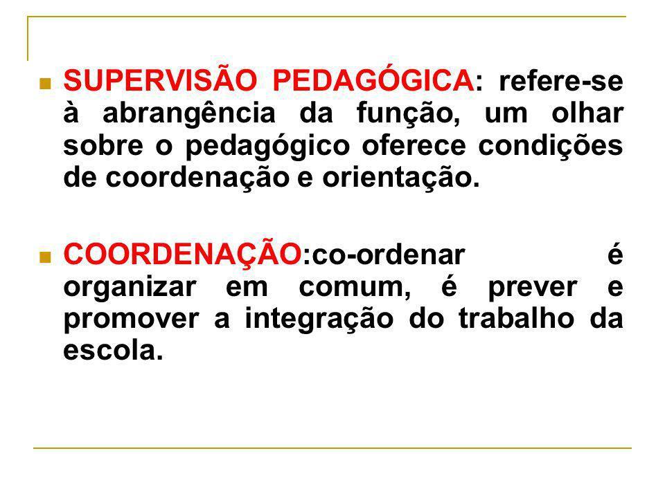 SUPERVISÃO PEDAGÓGICA: refere-se à abrangência da função, um olhar sobre o pedagógico oferece condições de coordenação e orientação. COORDENAÇÃO:co-or