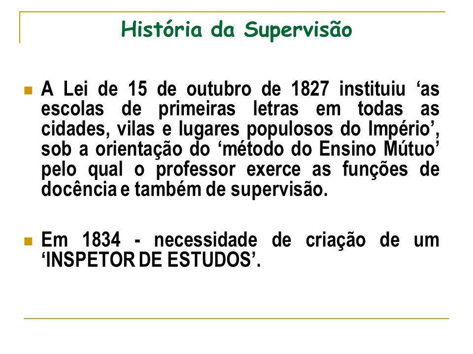 História da Supervisão A Lei de 15 de outubro de 1827 instituiu as escolas de primeiras letras em todas as cidades, vilas e lugares populosos do Impér
