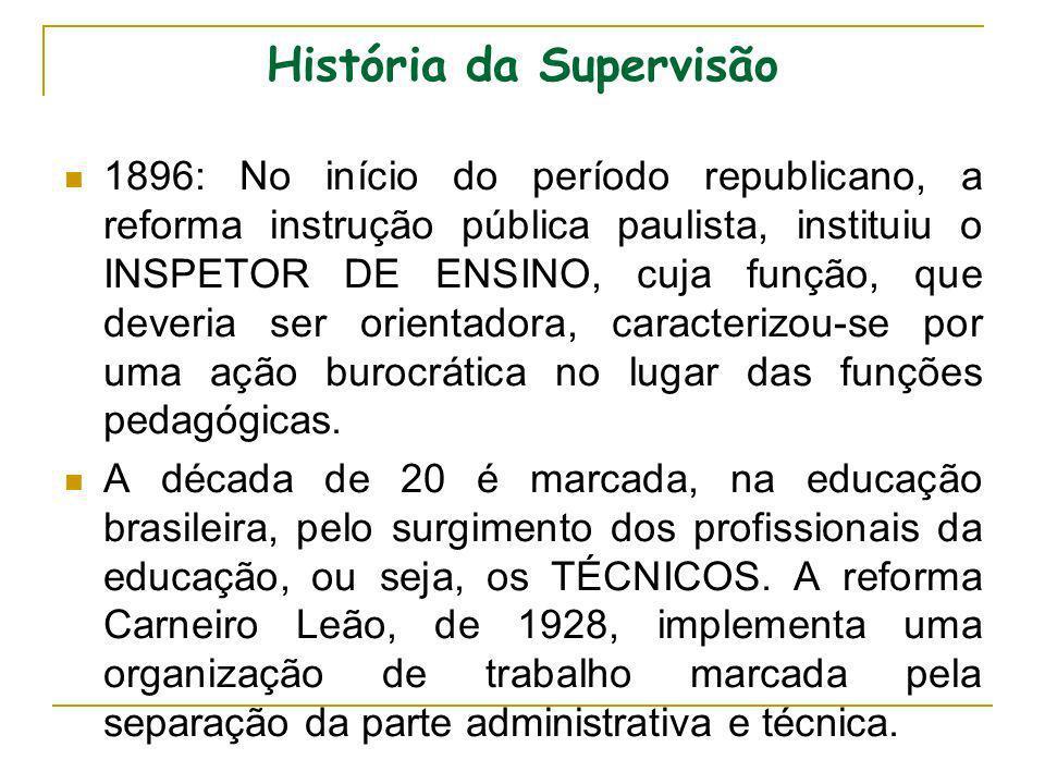 História da Supervisão 1896: No início do período republicano, a reforma instrução pública paulista, instituiu o INSPETOR DE ENSINO, cuja função, que