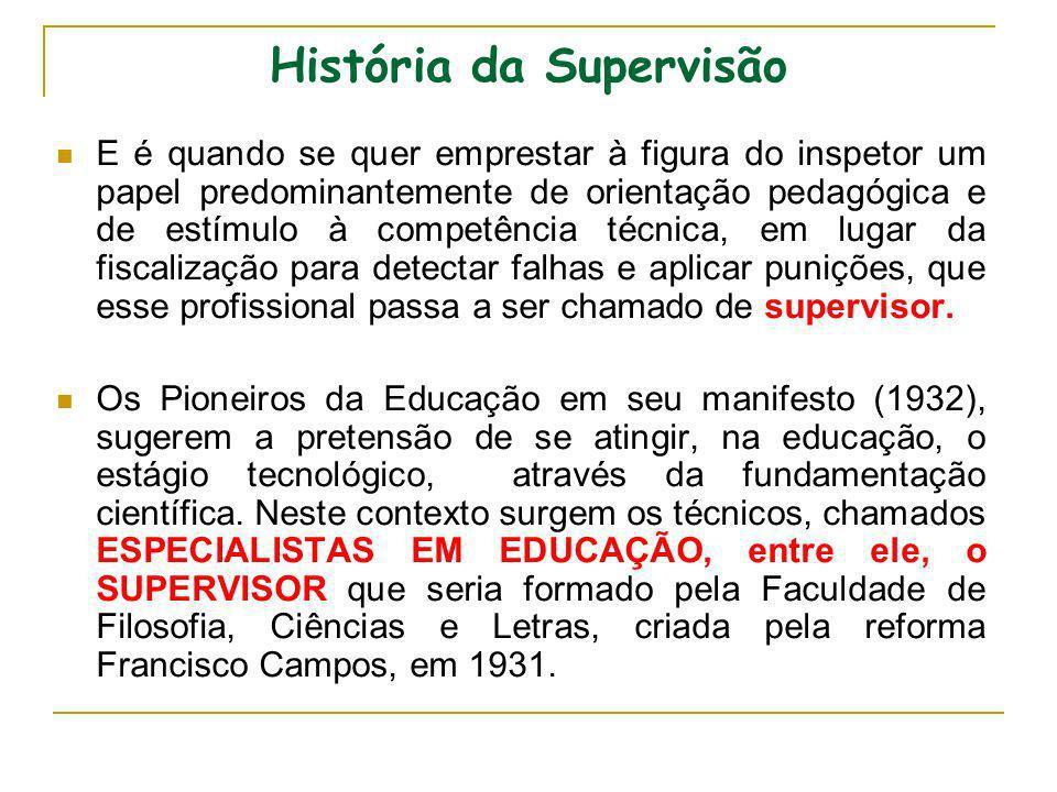 História da Supervisão A função de supervisão nas escolas de quinta à oitava séries surge após o golpe de 64.