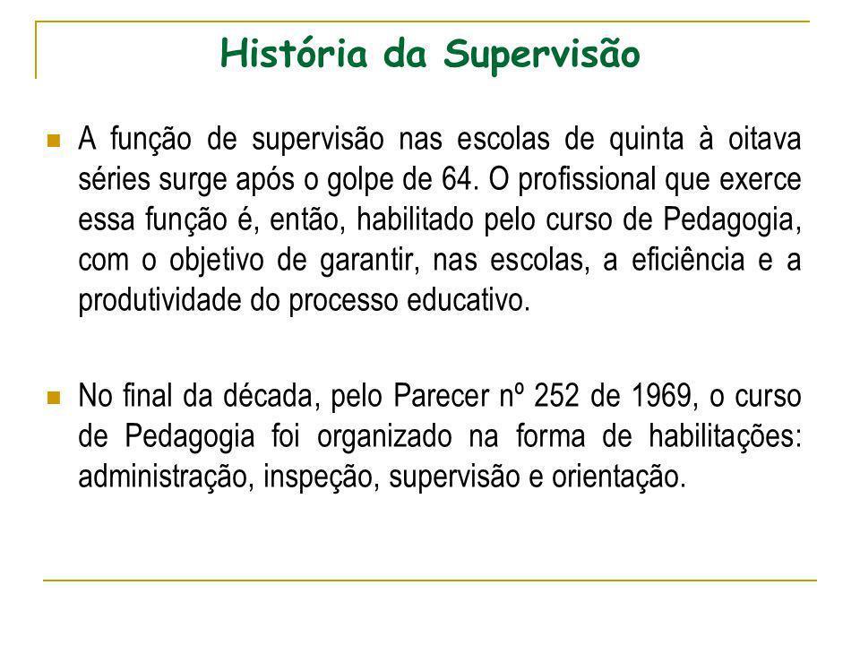 História da Supervisão A função de supervisão nas escolas de quinta à oitava séries surge após o golpe de 64. O profissional que exerce essa função é,