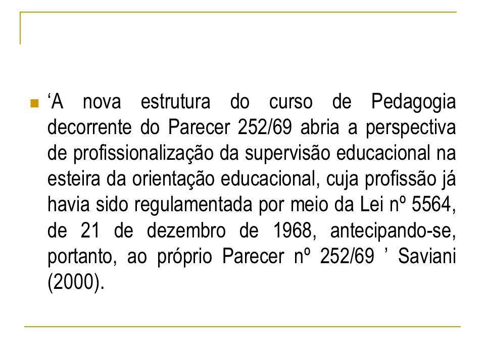 A nova estrutura do curso de Pedagogia decorrente do Parecer 252/69 abria a perspectiva de profissionalização da supervisão educacional na esteira da