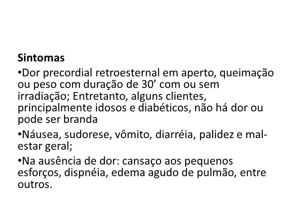 Sintomas Dor precordial retroesternal em aperto, queimação ou peso com duração de 30 com ou sem irradiação; Entretanto, alguns clientes, principalment