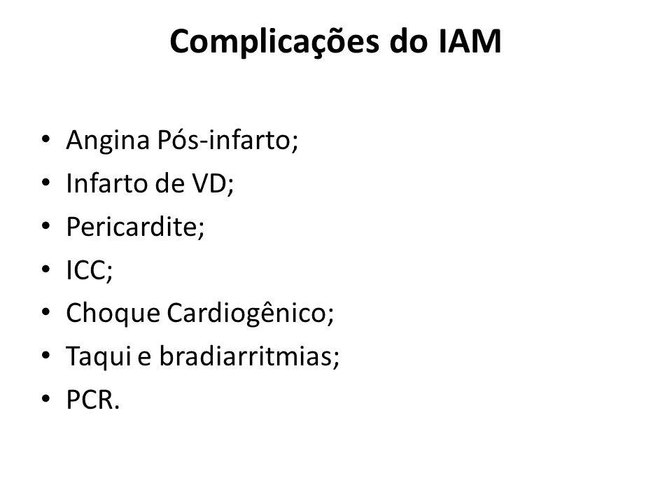 Complicações do IAM Angina Pós-infarto; Infarto de VD; Pericardite; ICC; Choque Cardiogênico; Taqui e bradiarritmias; PCR.