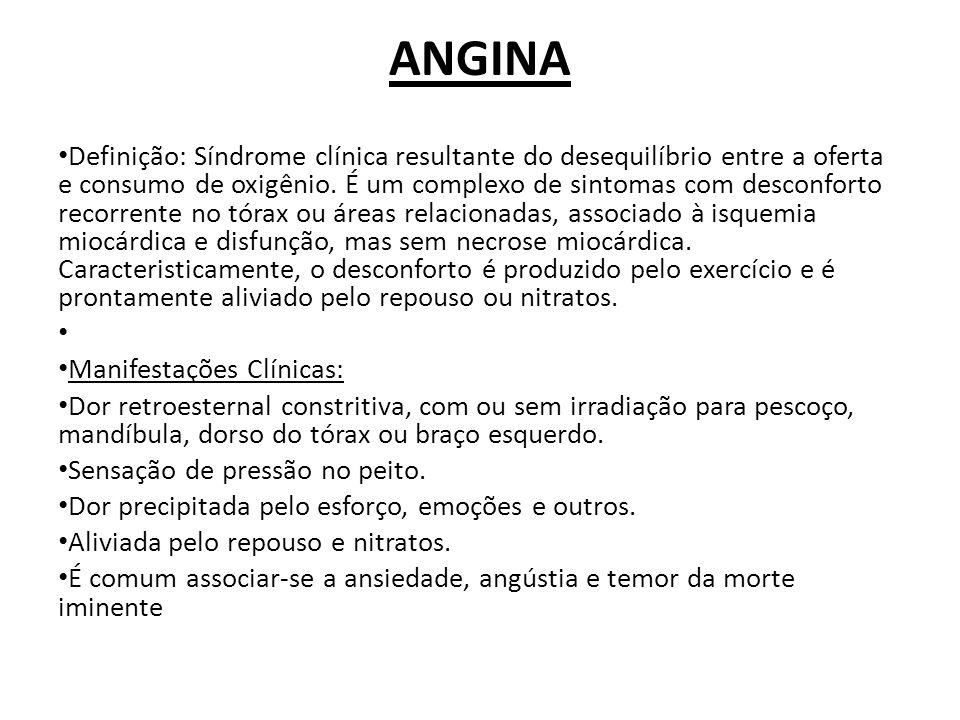 Formas de apresentação da angina do peito ANGINA ESTÁVEL ANGINA INSTÁVEL ANGINA VASOESPÁSTICA EQUIVALENTES ANGINOSOS ISQUEMIA SILENCIOSA ANGINA PÓS-INFARTO