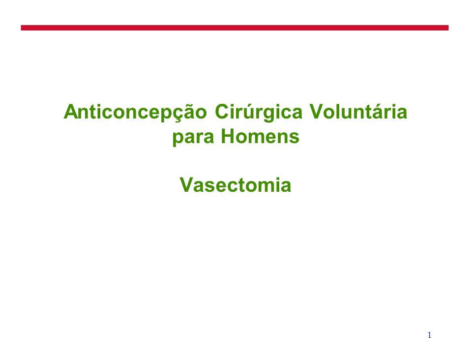 2 Vasectomia: Uso Mundial Fonte: Church e Geller, 1990 Homens: 43 milhões