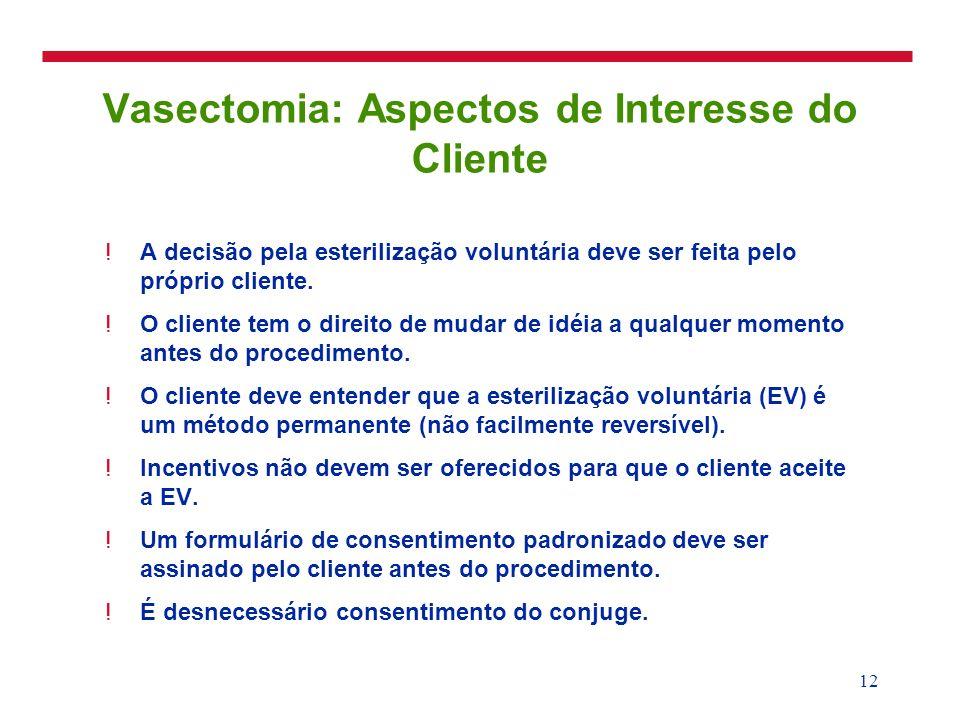 13 Vasectomia: Mecanismo de Ação A interrupção dos canais deferentes (duto ejaculatório) impede a presença de espermatozóides no ejaculado.