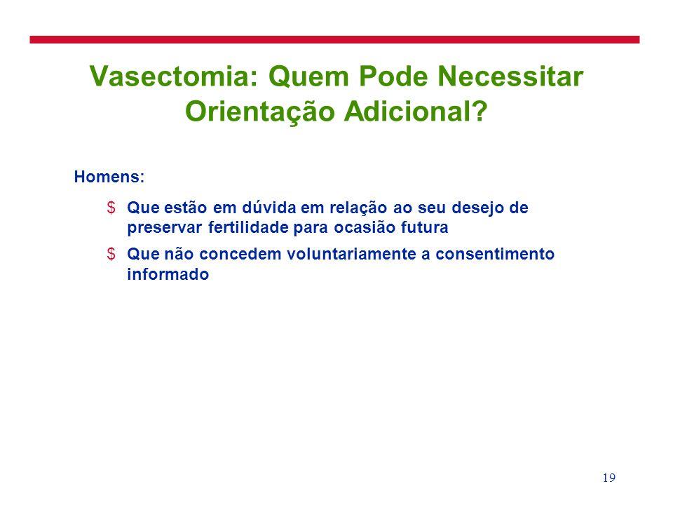 20 Vasectomia: Condições que Requerem Precaução (OMS Classe 3) !Infecção cutânea ou escrotal localizada !Infecção aguda do aparelho genital !Infecção sistêmica aguda (p.