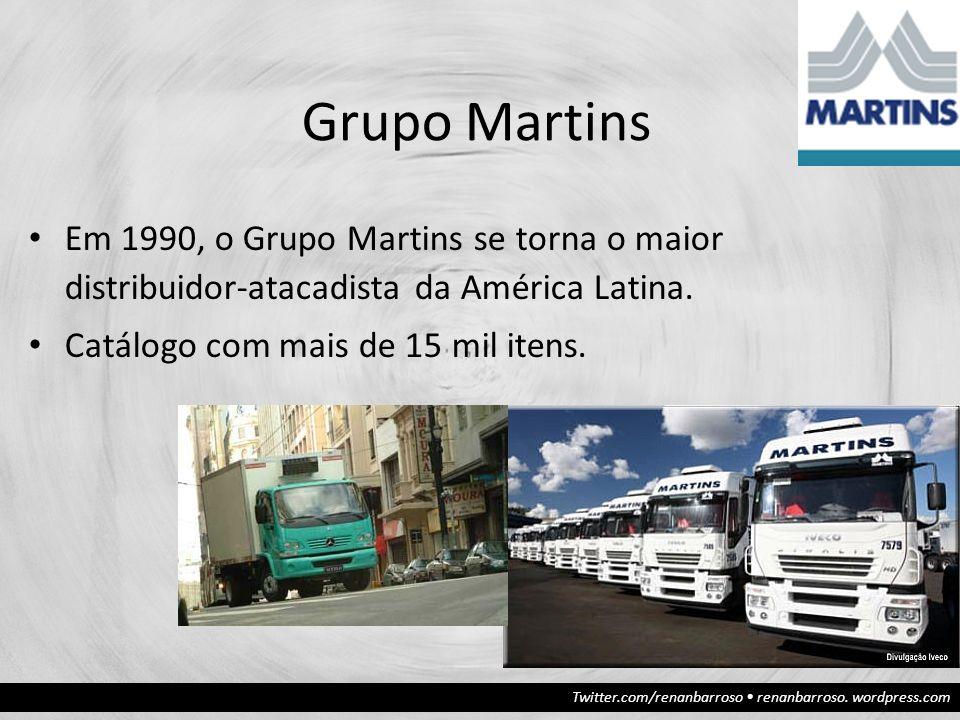 Twitter.com/renanbarroso renanbarroso. wordpress.com Grupo Martins Em 1990, o Grupo Martins se torna o maior distribuidor-atacadista da América Latina