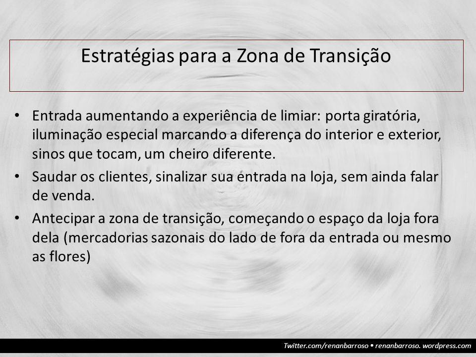Twitter.com/renanbarroso renanbarroso. wordpress.com Estratégias para a Zona de Transição Entrada aumentando a experiência de limiar: porta giratória,