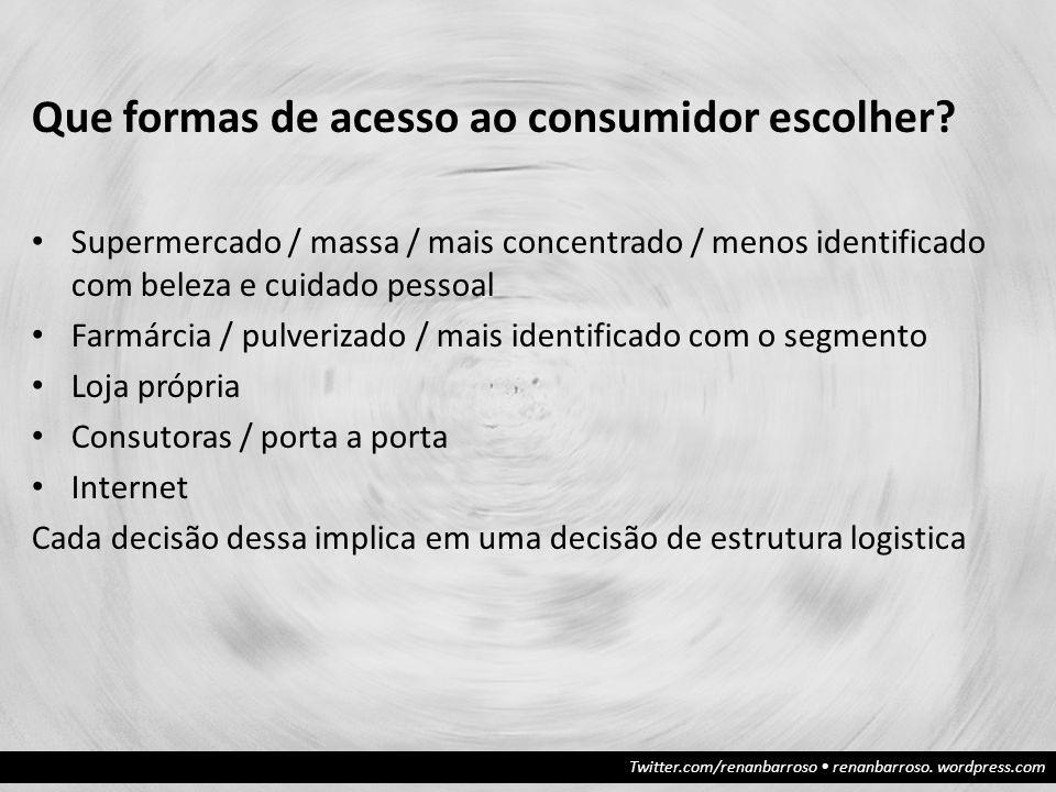 Que formas de acesso ao consumidor escolher? Supermercado / massa / mais concentrado / menos identificado com beleza e cuidado pessoal Farmárcia / pul