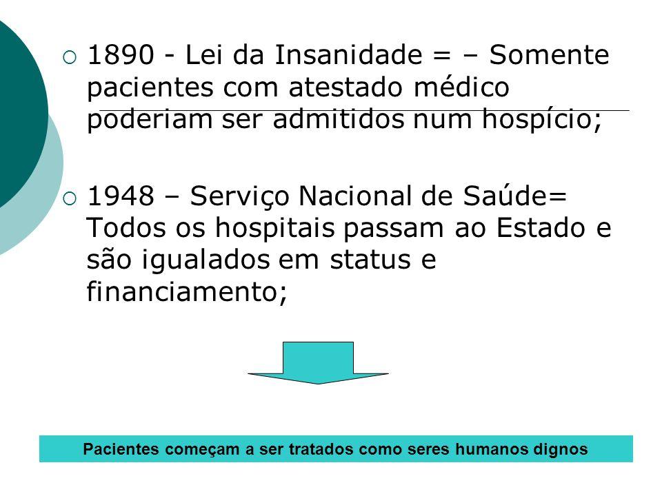 1890 - Lei da Insanidade = – Somente pacientes com atestado médico poderiam ser admitidos num hospício; 1948 – Serviço Nacional de Saúde= Todos os hos