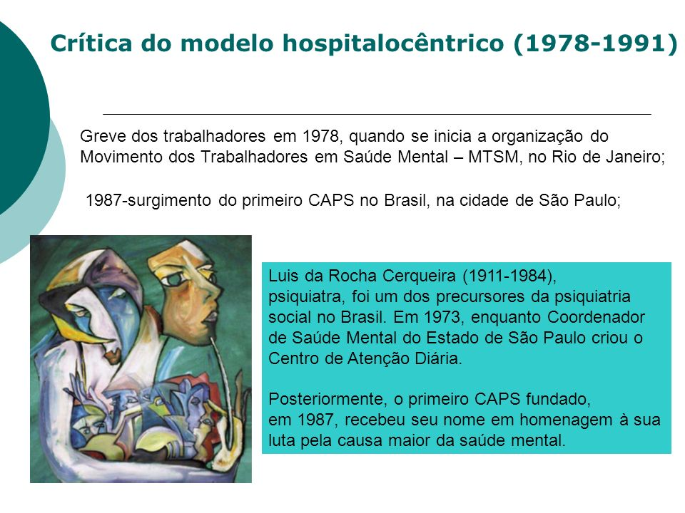 Crítica do modelo hospitalocêntrico (1978-1991) 1987-surgimento do primeiro CAPS no Brasil, na cidade de São Paulo; Greve dos trabalhadores em 1978, q
