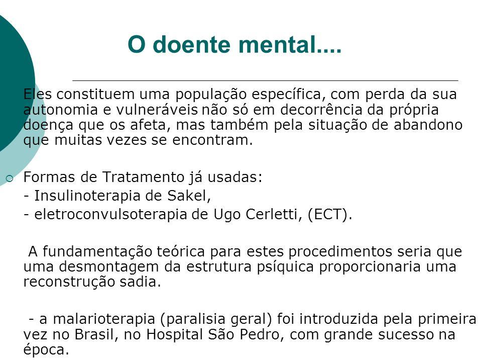 HOSPITAIS PSIQUIÁTRICOS NO BRASIL Os hospitais psiquiátricos no Brasil surgiram no final do século XIX; Influenciados pela psiquiatria francesa e pelo tratamento moral; O primeiro foi o Asilo Pedro II, no Rio de Janeiro fundado em 1853.