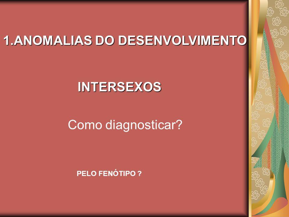 1.ANOMALIAS DO DESENVOLVIMENTO 1.ANOMALIAS DO DESENVOLVIMENTO INTERSEXOS INTERSEXOS Como diagnosticar? PELO FENÓTIPO ?