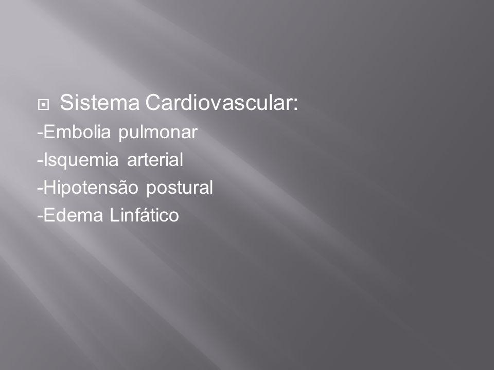 Sistema Cardiovascular: -Embolia pulmonar -Isquemia arterial -Hipotensão postural -Edema Linfático
