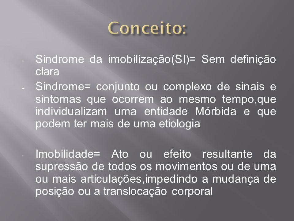 - Sindrome da imobilização(SI)= Sem definição clara - Sindrome= conjunto ou complexo de sinais e sintomas que ocorrem ao mesmo tempo,que individualiza