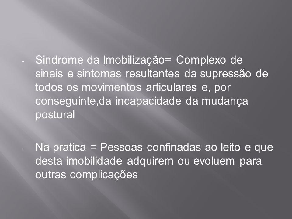 - Sindrome da Imobilização= Complexo de sinais e sintomas resultantes da supressão de todos os movimentos articulares e, por conseguinte,da incapacida
