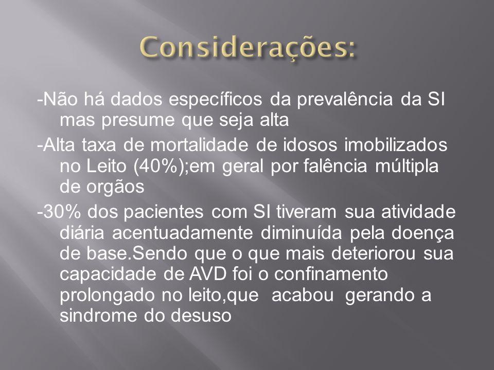 -Não há dados específicos da prevalência da SI mas presume que seja alta -Alta taxa de mortalidade de idosos imobilizados no Leito (40%);em geral por