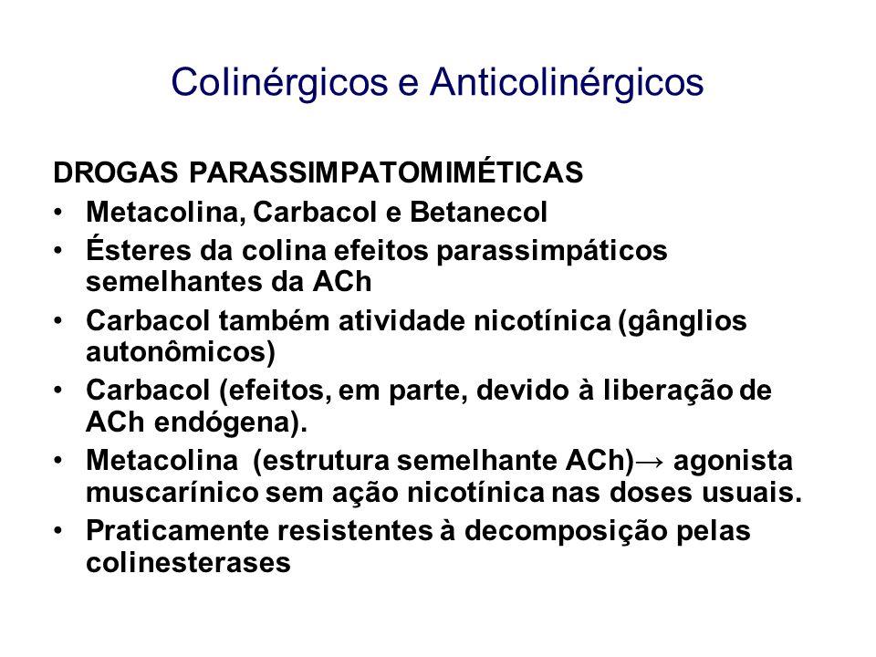 CoIinérgicos e Anticolinérgicos DROGAS PARASSIMPATOMIMÉTICAS Metacolina, Carbacol e Betanecol Ésteres da colina efeitos parassimpáticos semelhantes da