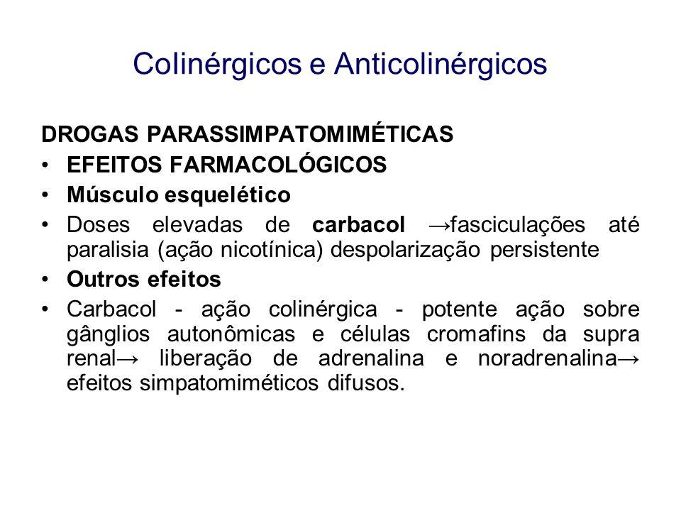 CoIinérgicos e Anticolinérgicos DROGAS PARASSIMPATOMIMÉTICAS EFEITOS FARMACOLÓGICOS Músculo esquelético Doses elevadas de carbacol fasciculações até p