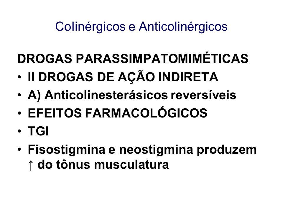 CoIinérgicos e Anticolinérgicos DROGAS PARASSIMPATOMIMÉTICAS II DROGAS DE AÇÃO INDIRETA A) Anticolinesterásicos reversíveis EFEITOS FARMACOLÓGICOS TGI