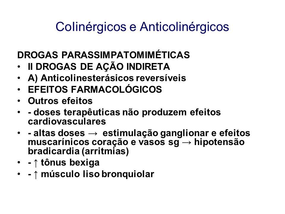 CoIinérgicos e Anticolinérgicos DROGAS PARASSIMPATOMIMÉTICAS II DROGAS DE AÇÃO INDIRETA A) Anticolinesterásicos reversíveis EFEITOS FARMACOLÓGICOS Out