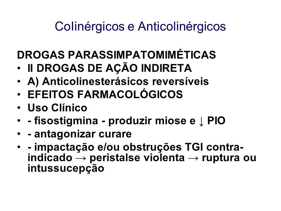 CoIinérgicos e Anticolinérgicos DROGAS PARASSIMPATOMIMÉTICAS II DROGAS DE AÇÃO INDIRETA A) Anticolinesterásicos reversíveis EFEITOS FARMACOLÓGICOS Uso