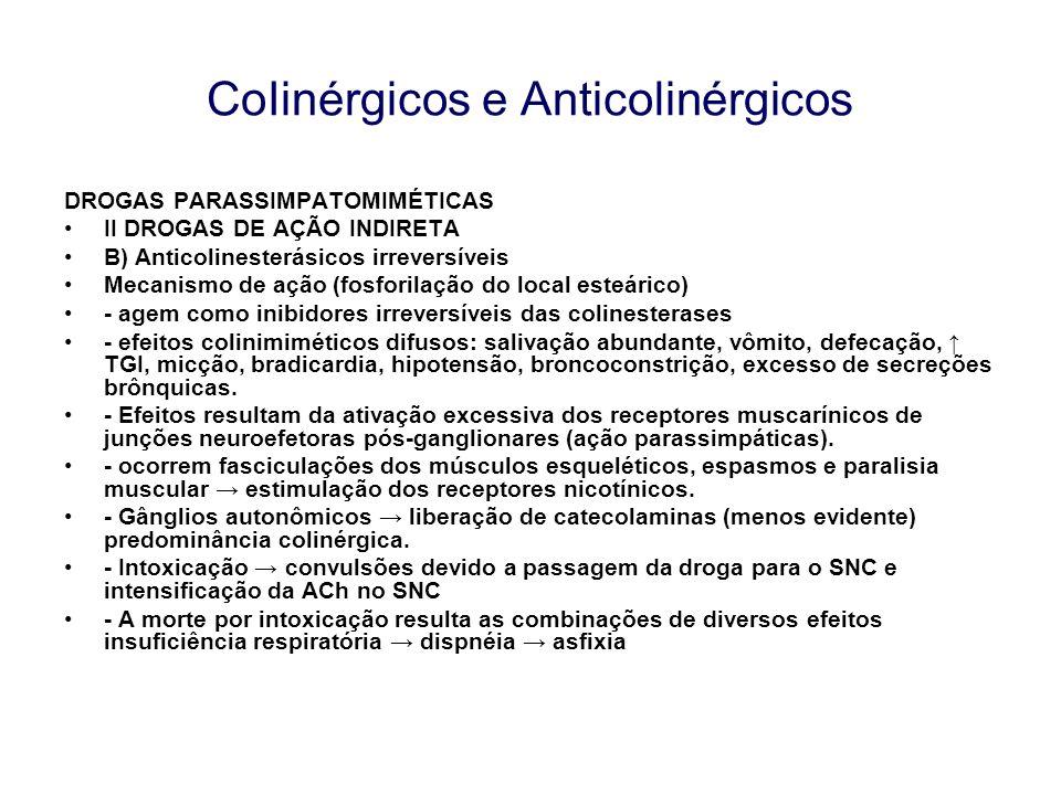 CoIinérgicos e Anticolinérgicos DROGAS PARASSIMPATOMIMÉTICAS II DROGAS DE AÇÃO INDIRETA B) Anticolinesterásicos irreversíveis Mecanismo de ação (fosfo