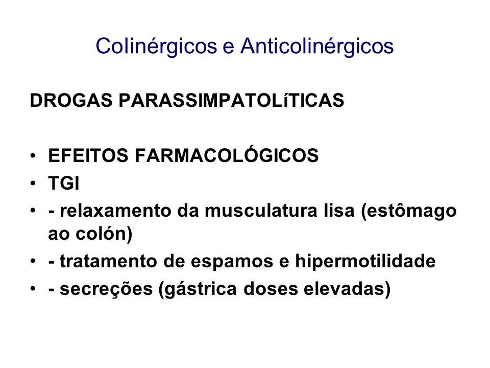 CoIinérgicos e Anticolinérgicos DROGAS PARASSIMPATOLíTICAS EFEITOS FARMACOLÓGICOS TGI - relaxamento da musculatura lisa (estômago ao colón) - tratamen