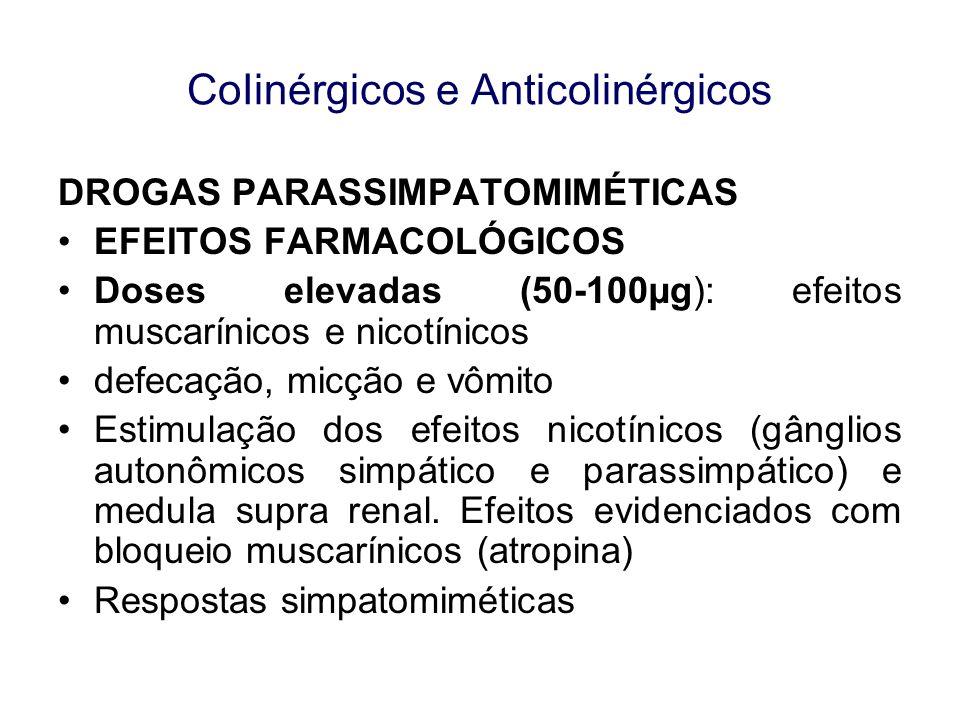CoIinérgicos e Anticolinérgicos DROGAS PARASSIMPATOMIMÉTICAS II DROGAS DE AÇÃO INDIRETA A) Anticolinesterásicos reversíveis Mecanismo de Ação - Reversível complexo inibidor-enzima se decompõe a enzima é reativada e inativa ACh -Neostigmina pode atuar diretamente em receptores liberação de ACh (ação secundária).
