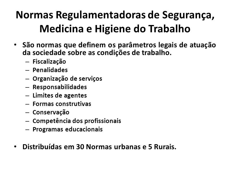 Normas Regulamentadoras de Segurança, Medicina e Higiene do Trabalho São normas que definem os parâmetros legais de atuação da sociedade sobre as cond