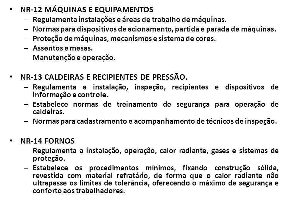 NR-12 MÁQUINAS E EQUIPAMENTOS – Regulamenta instalações e áreas de trabalho de máquinas. – Normas para dispositivos de acionamento, partida e parada d