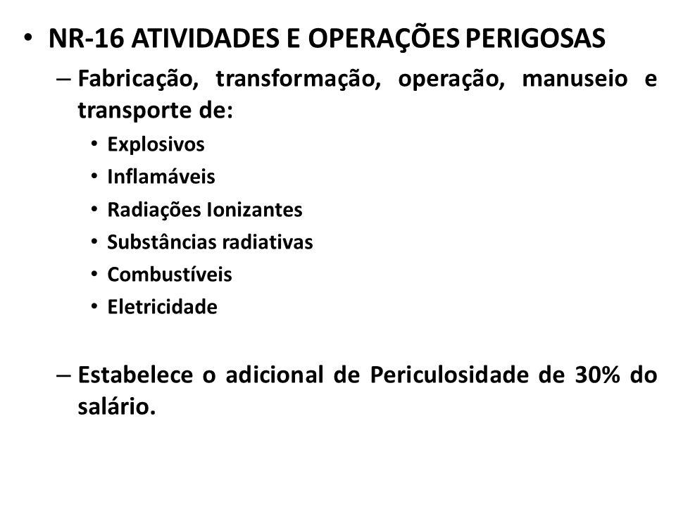 NR-16 ATIVIDADES E OPERAÇÕES PERIGOSAS – Fabricação, transformação, operação, manuseio e transporte de: Explosivos Inflamáveis Radiações Ionizantes Su