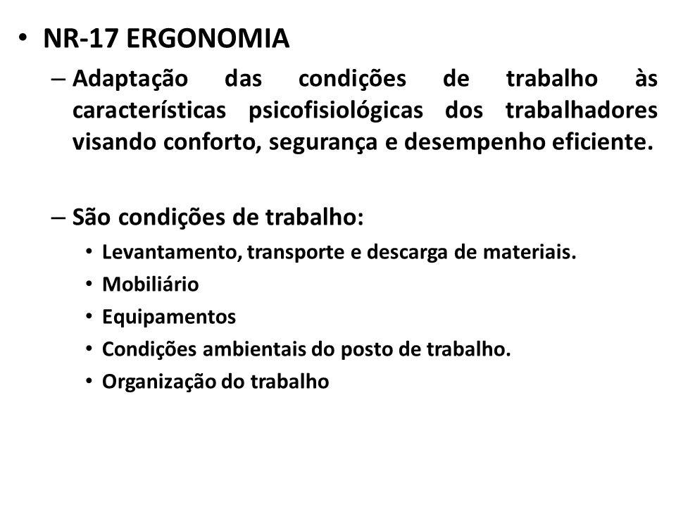 NR-17 ERGONOMIA – Adaptação das condições de trabalho às características psicofisiológicas dos trabalhadores visando conforto, segurança e desempenho