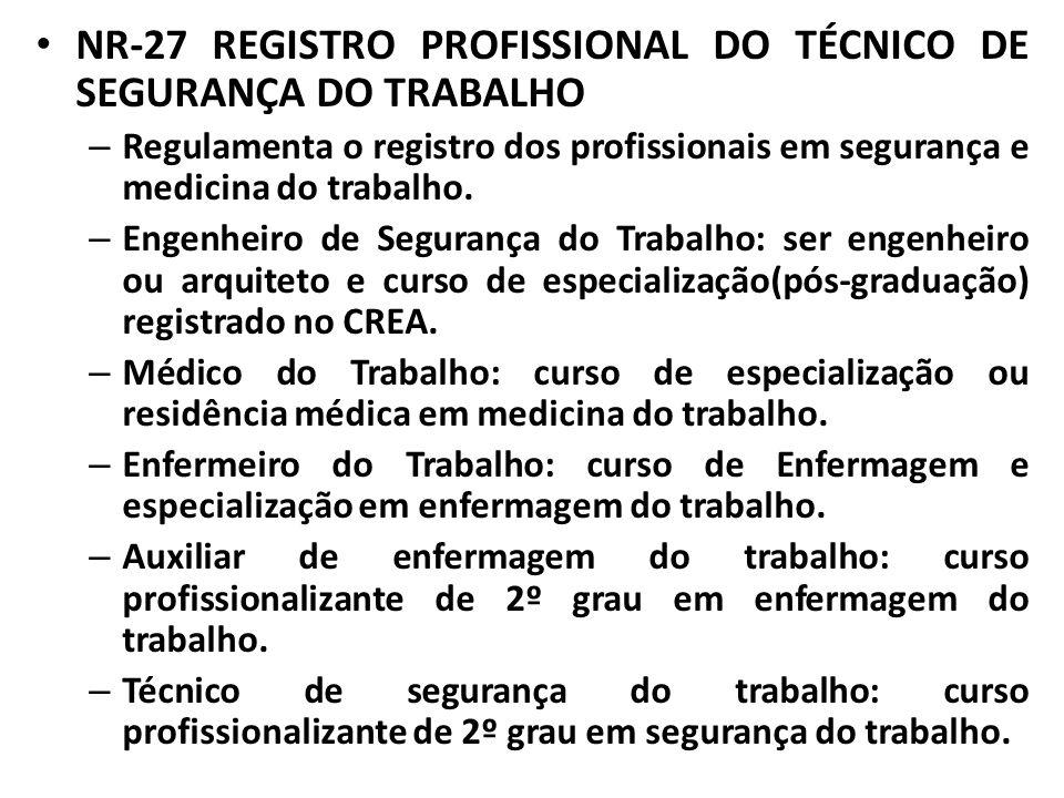 NR-27 REGISTRO PROFISSIONAL DO TÉCNICO DE SEGURANÇA DO TRABALHO – Regulamenta o registro dos profissionais em segurança e medicina do trabalho. – Enge
