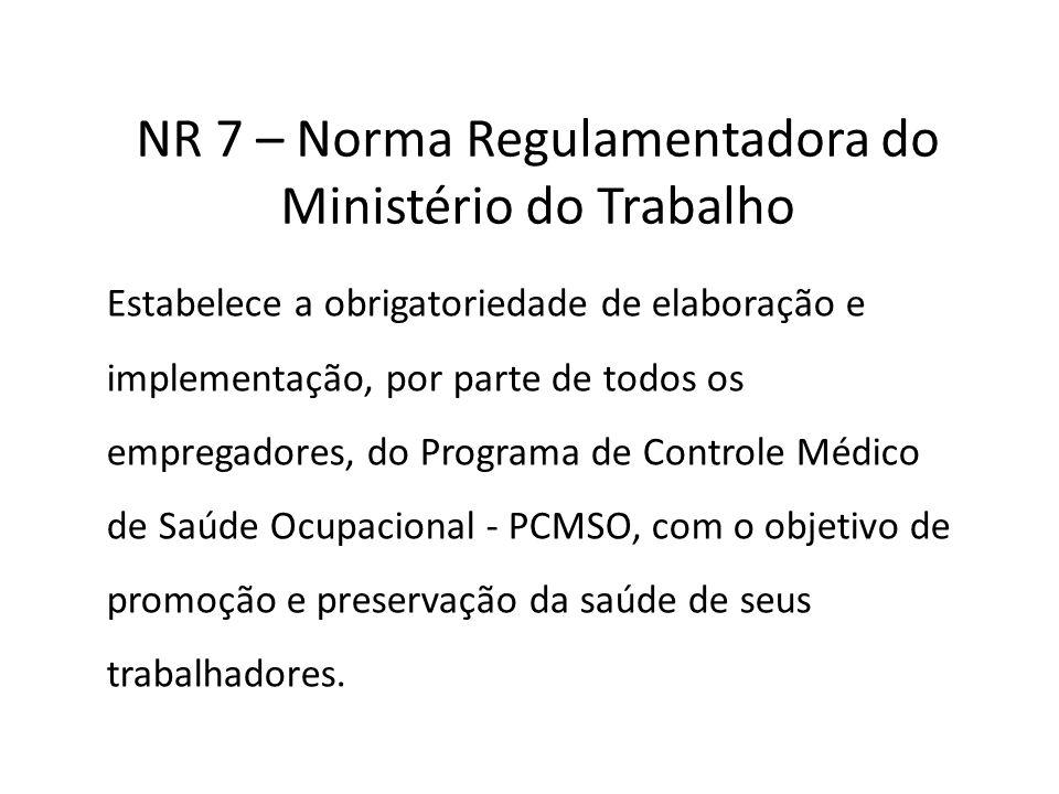 NR 7 – Norma Regulamentadora do Ministério do Trabalho Estabelece a obrigatoriedade de elaboração e implementação, por parte de todos os empregadores,