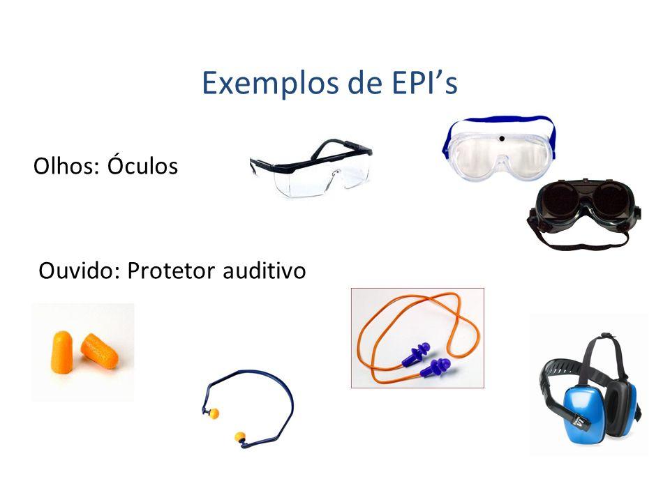 Olhos: Óculos Exemplos de EPIs Ouvido: Protetor auditivo