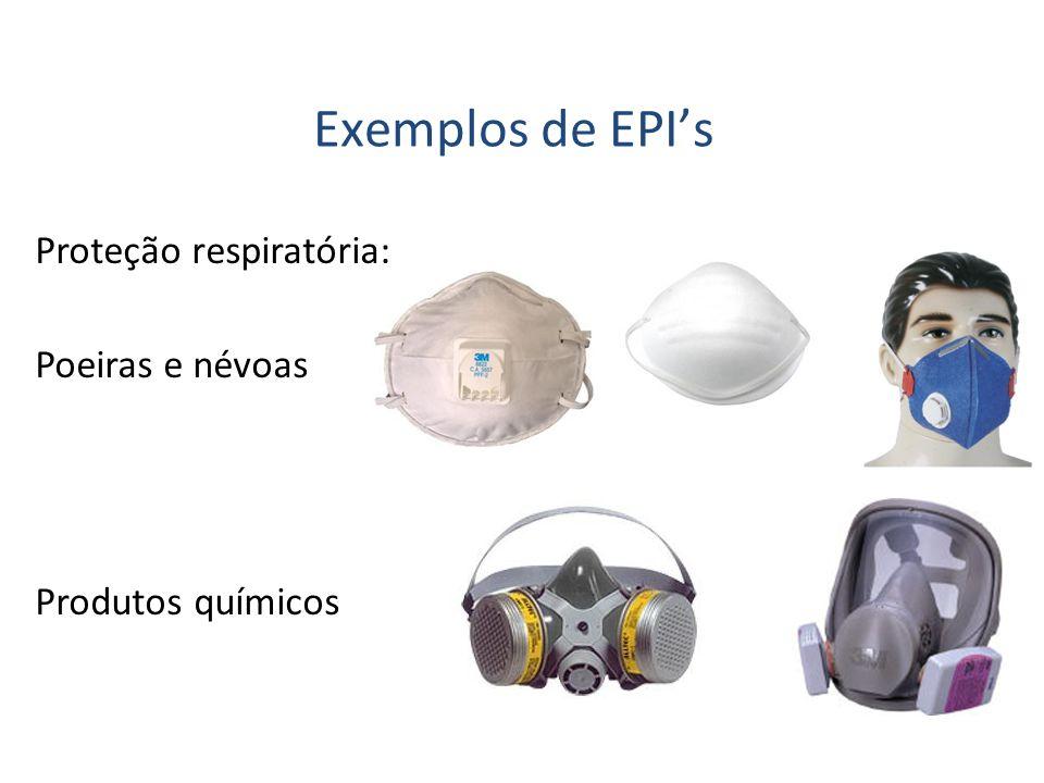Proteção respiratória: Exemplos de EPIs Produtos químicos Poeiras e névoas